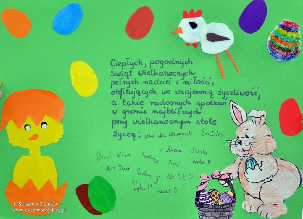 Dzieci ze świetlicy w Zbytkowie składają życzenia Wielkanocne