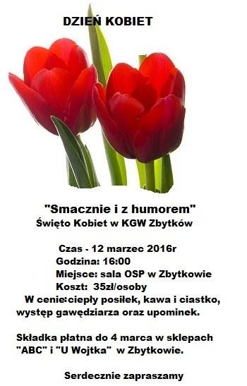 KGW Zbytków zaprasza na Dzień Kobiet